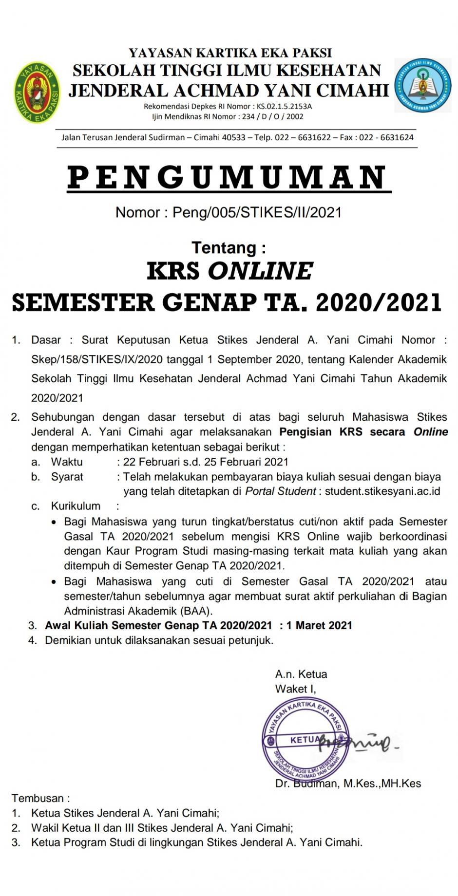 Pengumuman KRS Online Genap 2021