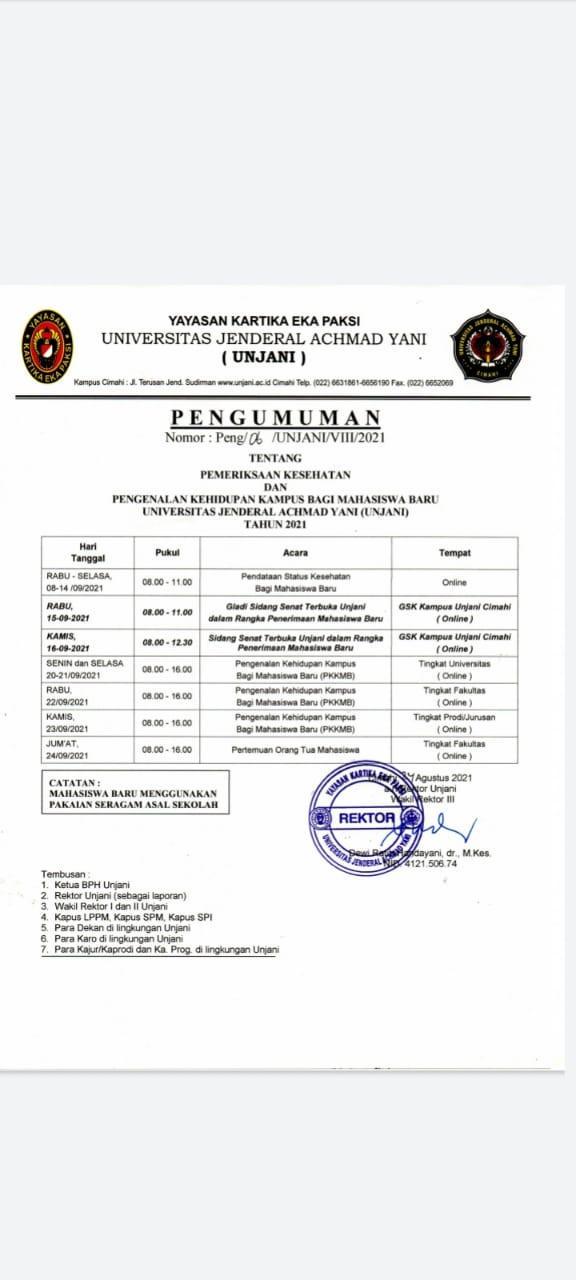 Jadwal Kegiatan PKKMB Bagi Mahasiswa Baru TA. 2021/2022