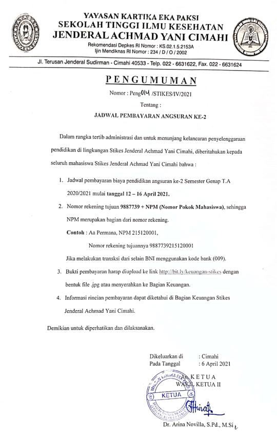 Jadwal Pembayaran Angsuran ke-2 Semester Genap T.A. 2020/2021