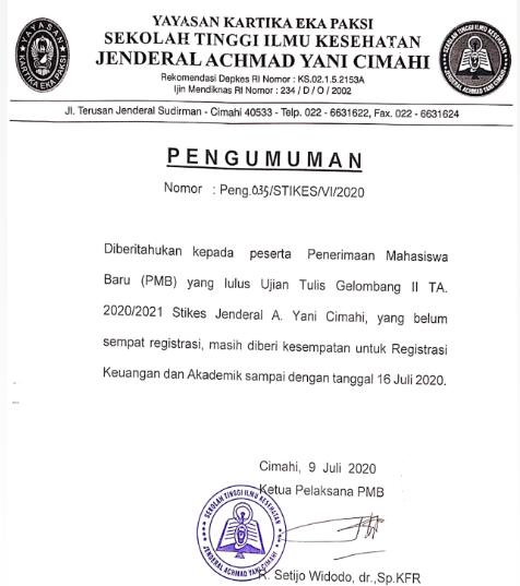 Pengumuman Registrasi PMB Gelombang II TA 2020/2021