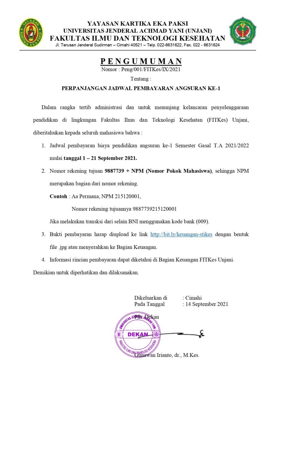 Perpanjangan Jadwal Pembayaran Angsuran ke-1 Semester Gasal T.A. 2021/2022